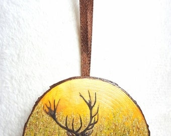Miniature painting with gold leaf - deer
