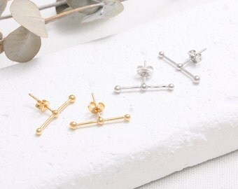 Tiny Balls with Stick Stud Earrings/ Brass or Sterling Silver