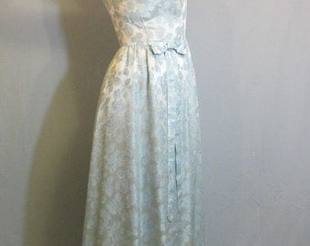 1960s Ice Blue Jaquard Woven Dress with Bow | Size 8 Medium | Floral | Rose Pattern | Bridesmaid | Prom | Formal