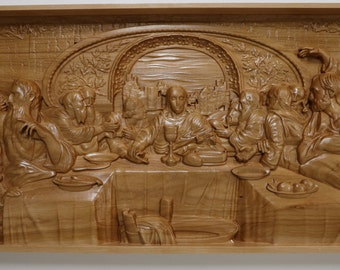 "The Last Supper Wood Carving - 22"" W x 11 1/2"" H - 3D Wall Art Carved in Hardwood - Jesus Christ Apostles Communion Religious Statues"