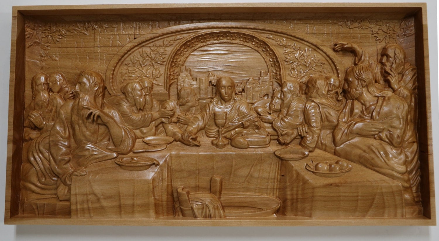 The last supper wood carving w h