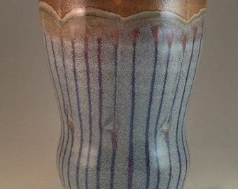 Baby Blue Striped Soda Fired Tumbler
