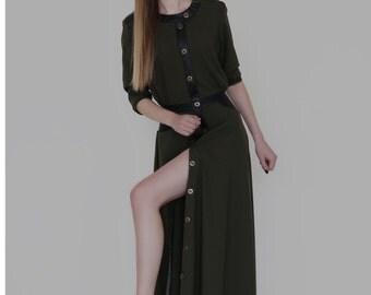 Long military inspired wool dress