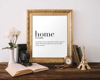 Home Definition Print , Dictionary Art, Typography Print, Downloadable Print, Black and White Wall Art, 8x10 Print, 11x14 Print, A4 Print