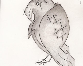 picture/poster/paper graphite mixed media Raven scetch
