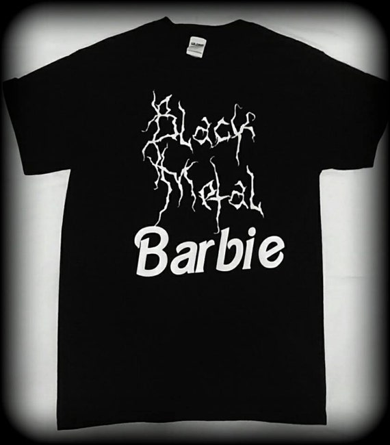 Black metal barbie t shirt womens black metal by cemeteryvixen for Black barbie t shirts