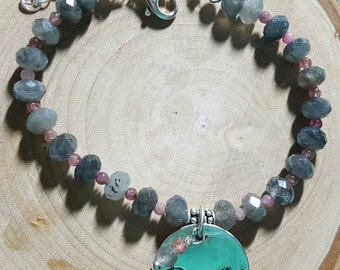 "Moonstone and Flourite ""Breathe"" handstamped charm bracelet"