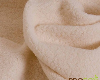 Pre-Activated ProECO® Organic Cotton Sherpa Fabric 260 GSM  (Natural, sold by the yard)