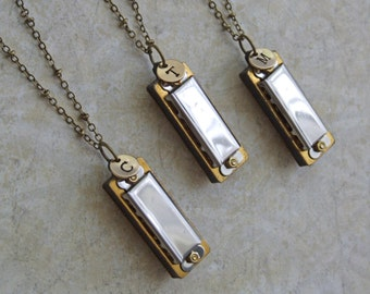 Harmonica Necklace, Music Theme Bridesmaid Gifts, Harmonica Musical Necklace, Personalized Musical Instrument, Gift for Music Lover