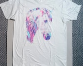 Horse t shirt, multicolor print, mens tee, OOAK t-shirt, gray t-shirt, crying horse, 1AEON multicolor Crying Horse tee -  Size mens XL