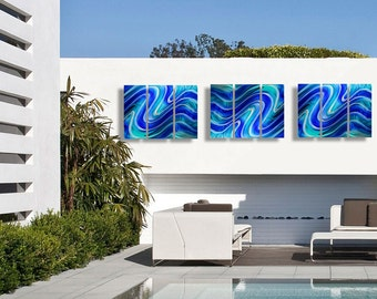 Vibrant Blue & Teal Handmade Abstract Metal Wall Paintings - Set of 9 -  Contemporary Wall Art Bundle - Infinity Pool 9P by Jon Allen