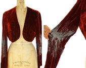 90s Burnout Velvet Bolero / Vintage 1990s Cropped Jacket in Red Cut Velvet / Special Occasion Fancy Dressy Shrug / Small Medium Large