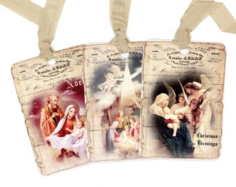 Religious Christmas Gift Tags , Vintage Nativity , Mary , Joseph and Jesus , Angel Tags , Jesus in Manger , Noel , Christmas Blessings