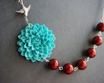Statement Necklace Turquoise Necklace Maroon Necklace Flower Necklace Bridesmaid Jewelry Set Bridesmaid Gift Wedding Jewelry Set Gift