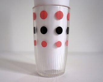 set of 2 vintage glasses with pink and black dots
