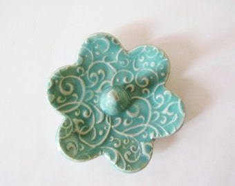 Ring Holder, Ring Dish, Ring Bowl, Glazed in Spa Mint Green