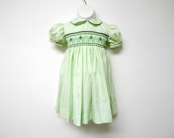 LITTLE GRETA . light green . Peter Pan collar . puff sleeves . hand smocked dress . girl size 4T - 6T