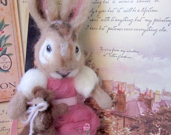Needle Felted Bunny Rabbit Doll/ Heirloom Collectible Art Doll/From the Pages of a Book