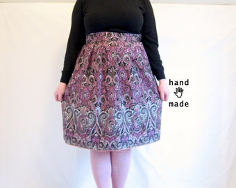 Paisley Pleated Skirt -- size 14, size 16, xl -- Midi, below knee length -- vintage border print cotton fabric-- 35W-60H