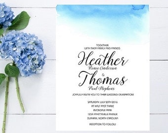 Blue Watercolor Wedding Inviation - Beach Wedding Invitation, Watercolor, Beach Wedding