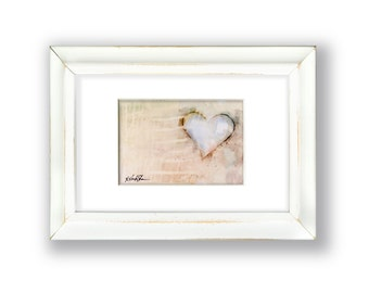 """Original Heart Painting in Shabby Chic, Cottage Style Frame, """"Love Unfolding No. 26"""" by Kathy Morton Stanion EBSQ"""