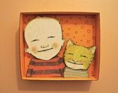 cat Shadowbox art, Diorama, odd boy and cat , sandy mastroni, friends , Small art, Wall art collection,