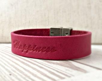 Leather Happiness bracelet - Fuschia Leather Bracelet - Custom Bracelet - 3rd anniversary gift for Wife or Husband
