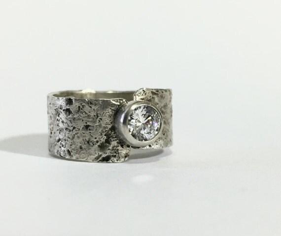 Sterling Ring, Cubic Zirconia Ring, Hammered Silver Ring, Sterling Silver Wide Band Ring Faux Diamond Simulant April Birthstone Birthday 6.5