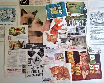 Vintage Ephemera Paper Pack CATS Mid Century Kittens Ads Clippings Paper Pack 'E' Cat Food Treats Vintage CATS Kittys Paper Pack Kids Books
