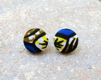 Mudiwa (Extra Small) ~~ African Ankara Fabric Button Earrings. EXTRA SMALL. 3/4 Inches. Stainless Steel Posts. Lead Free. Nickel Free