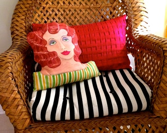 ELOISE SCULPTURED PILLOW, hand painted, shaped pillow, sofa pillow, red hair, art deco, 15 in X 13 in, bed pillow, sage green, gold,