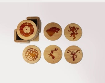 Game of Thrones Coasters, Round or Square Coaster Set, Engraved Bamboo Wood Coasters, GOT Fan HBO TV Show Housewarming Gift 6pc Set--6098
