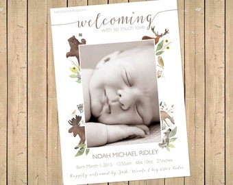 WOODLAND BIRTH ANNOUNCEMENT - Photo Baby Announcement - Baby Boy Annoucement - Baby Girl Announcement woodland nursery watercolour welcoming