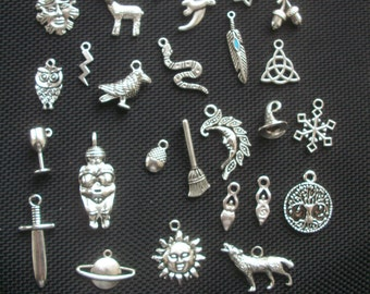 25 Assorted Pagan Wiccan Themed Charms