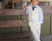 Boys Vintage Inspired Ivory Vest Pants Combo,  Custom Order Ring Bearer Outfit, Special Occasion Suit, Vintage Inspired