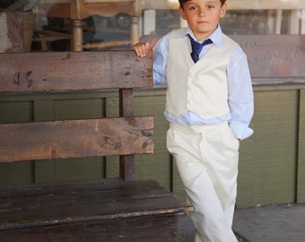 Boys Vintage Inspired Ivory Vest Pants Combo Ring Bearer Outfit Special Occasion Suit Vintage Inspired