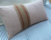 FrencH Ticking/22x12 Down Pillow/Paris Cottage/Beachy/Shabby Chic/Red and Cream Ticking/Decorative Throw Pillow