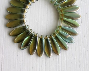 50 Aqua Celcian 5x15mm Czech Glass Dagger Beads