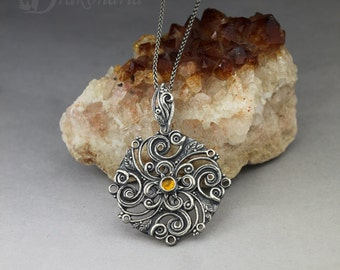 Solar mandala with Baltic amber - carved silver pendant, limited collection