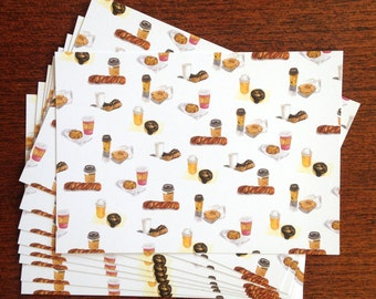 Coffee and Donuts Print Postcard - Set of 6 Postcards for Donut Lovers