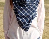 Oversized Plaid Blanket Scarf in Navy Blue + White Checked Flannel
