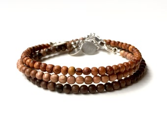 Bracelet Set - Three (3) Bead Bracelets made with Bayong Wood, Tiger Ebony and Rosewood - Small 4mm Wood Bracelets - Oil Diffuser Jewelry