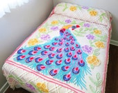 Chenille Peacock Bedspread, Light Pink with Flowers, Turquoise, White, Yellow, Purple, Red & Green, Full / Queen Size