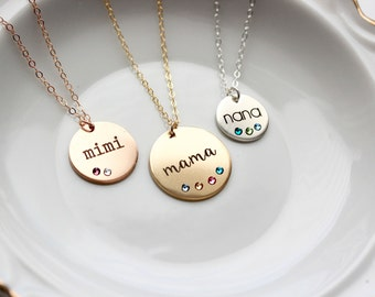 Engraved Birthstone Disc Necklace - Personalized Gift for Mom Birthstone Necklace Gold Silver Rose Custom Personalized Mothers Gift Initial