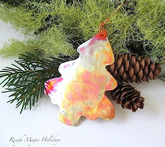 Copper Xmas Tree Christmas, Christmas Ornament, Rustic Primitive Metal Decoration, Woodland Evergreen Tree, Eco Friendly Holiday Decoration