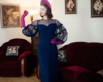 Vintage 1940s Dress - Incredible Navy Blue Rayon Late 40s Dress with Sheer Mesh Balloon Sleeves and Décolletage