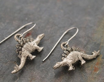 Stegosaurus Earrings, Dinosaur Earrings, Jurassic Earrings, Dino Earrings, Dinosaur Jewelry, Dinosaur Lover Gift