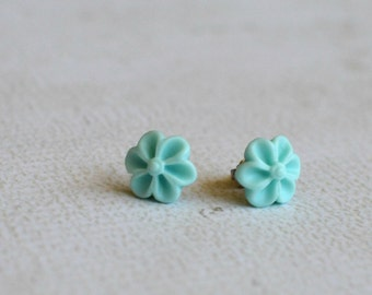 Aqua Green Flower Titanium Earring Posts - Green Flower Studs - Contains No Nickel - Great for Sensitive Ears