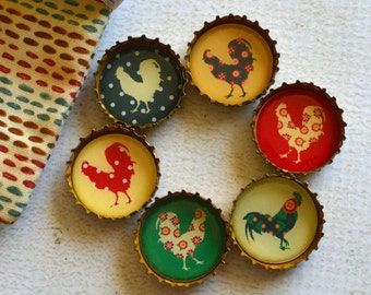 Farmhouse Kitchen Upcycled Bottlecap Magnets- Country Chickens and Roosters- Super Strong Bottlecap Magnets
