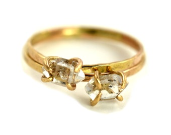 Herkimer Diamond Ring, Raw Gemstone Ring, Crystal Point Ring, April Birthstone Ring